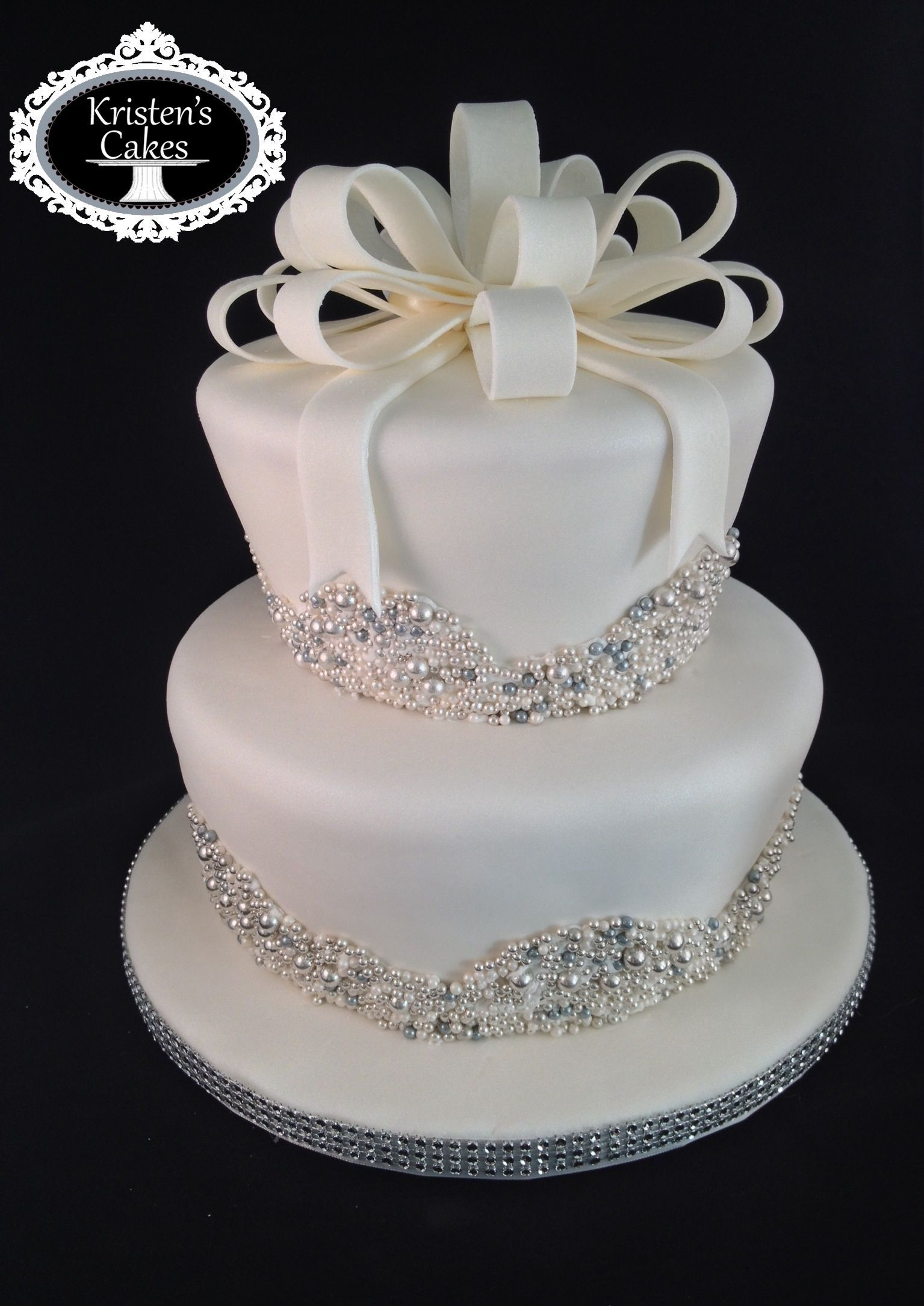 pearls bling bridal shower cake