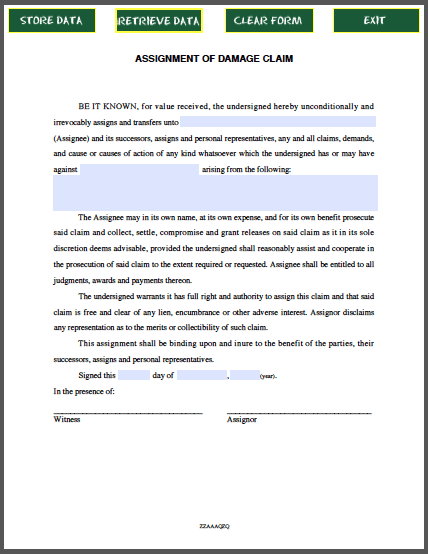 Assignment Of Damage Claim Free Fillable Pdf Forms Form Example Menu Template Word Templates