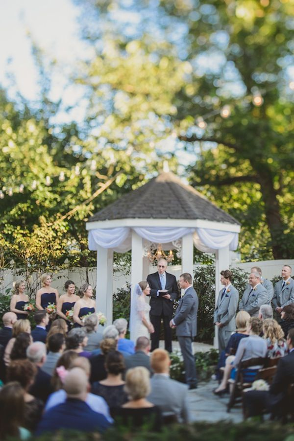 Elegant Navy Blue Coral Fall Garden Wedding With Images Fall