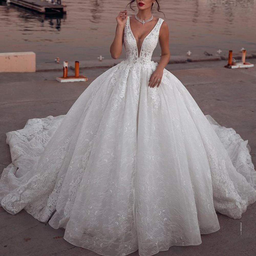 Ball Gown Wedding Dresses 2020 Deep V Neck Lace Appliques Puffy Bridal Dresses Vestidos De Noiva Ball Gown Wedding Dress Ball Gowns Wedding Wedding Dresses [ 1000 x 1000 Pixel ]