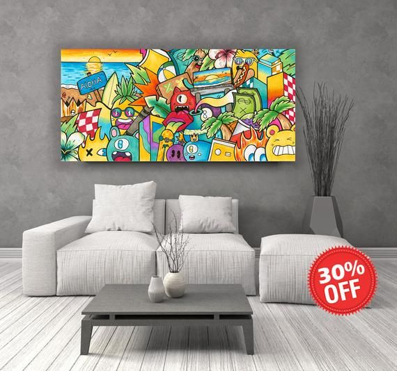 Pop Art Colorful Painting Print On Canvas Horizontal Wall Etsy Pop Art Canvas Colorful Wall Art Graffiti Wall Art