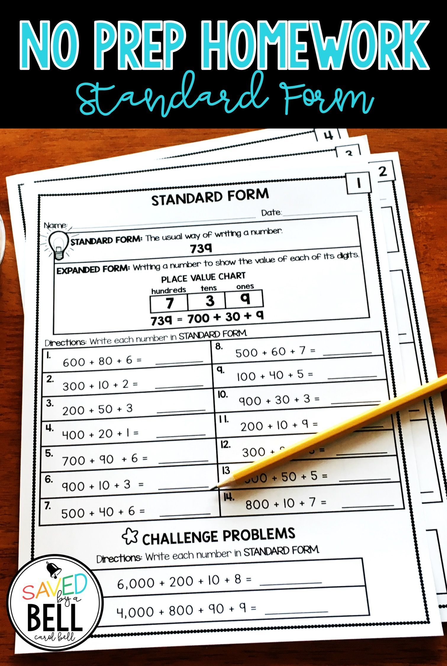 Place Value Standard Form Worksheets Distance Learning