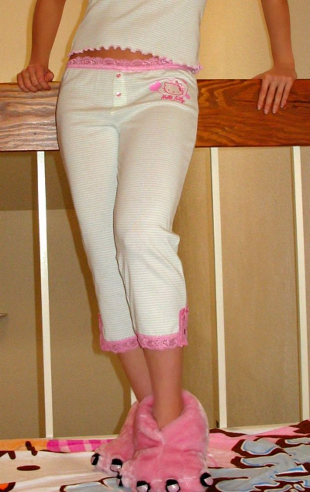 e7b0c1eda NWT Sanrio Hello Kitty Capri Pajama Pants with Lace waistband & hem trim<M # Sanrio #Capripantswithlace #Sleeplounge