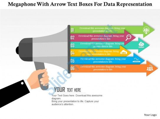 0115 megaphone with arrow text boxes for data representation - roadmap powerpoint template