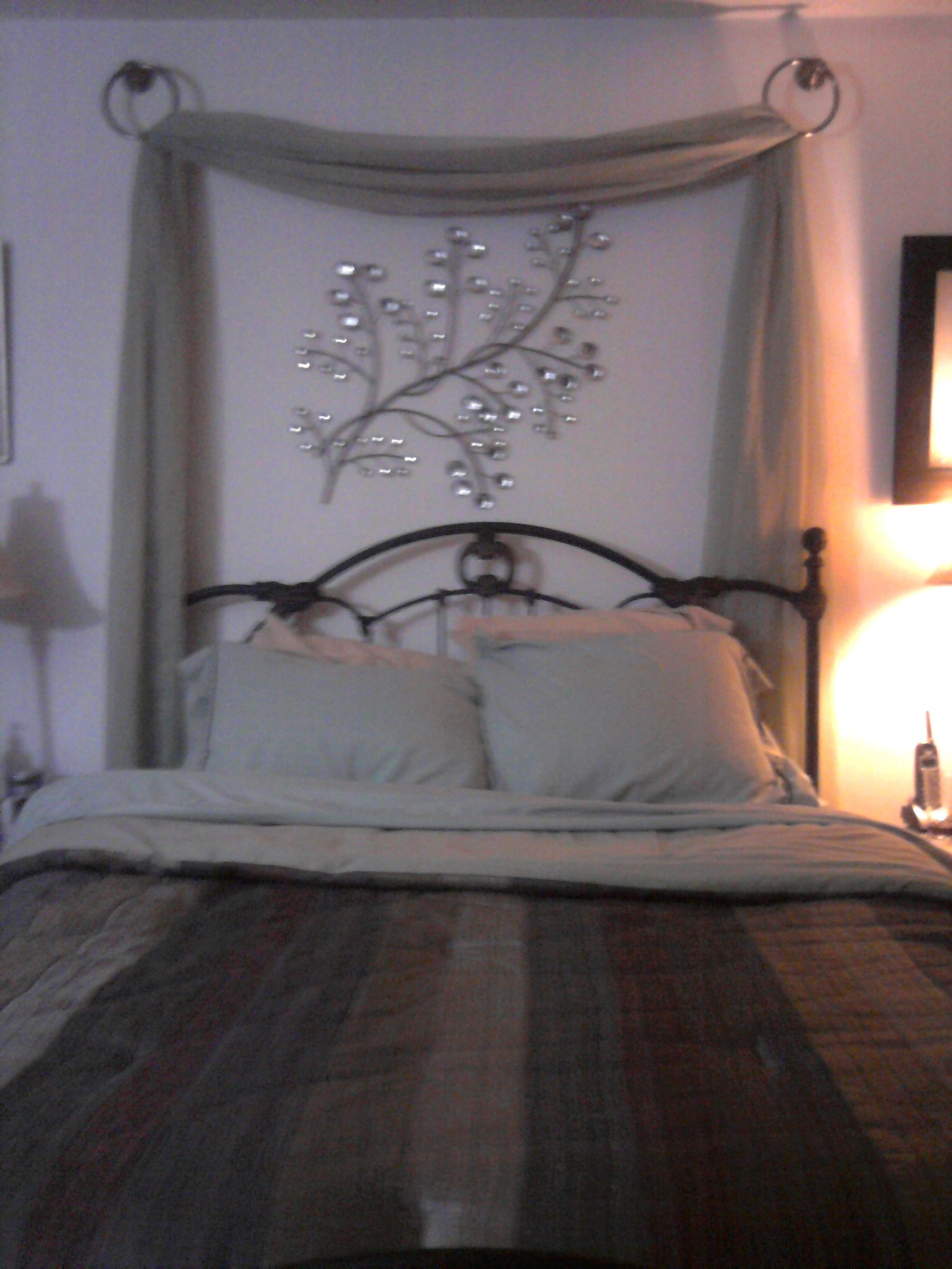 Love the drape behind the bed  Home  Decor