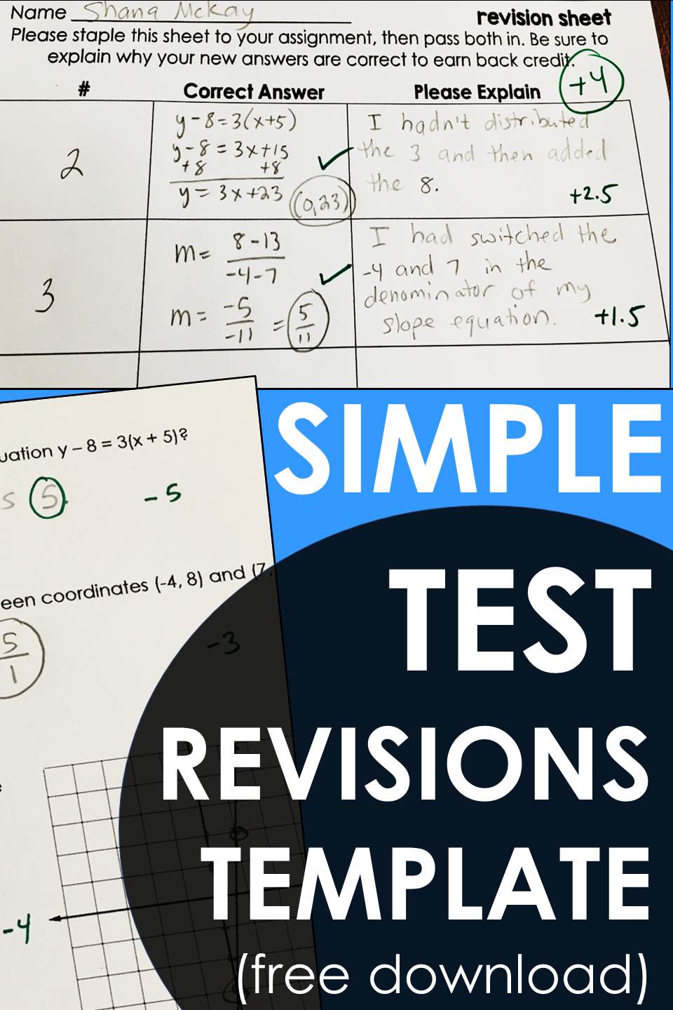 Simple math test corrections template for students to reflect on