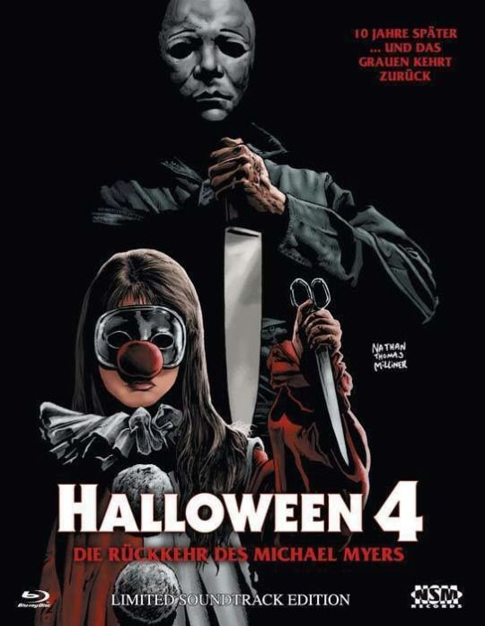 Set with halloween (both theatrical and extended tv versions on dvd and a. Halloween 4 The Return Of Michael Myers 1988 German Dvd Cover By Artist Nathan Thomas Milliner Halloween Film Michael Myers Horror Movie Posters