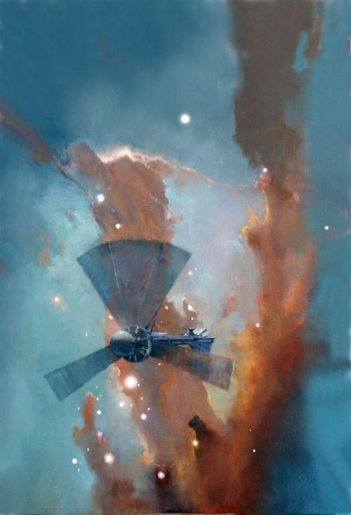John Harris born 1948 in London, England is a British painter and illustrator, best known for working in the science fiction genre. His paintings have been used on book covers for many science fiction authors, including Isaac Asimov, Frederik Pohl, Ben Bova, Orson Scott Card and Jack Vance. He currently lives in Devon, England.