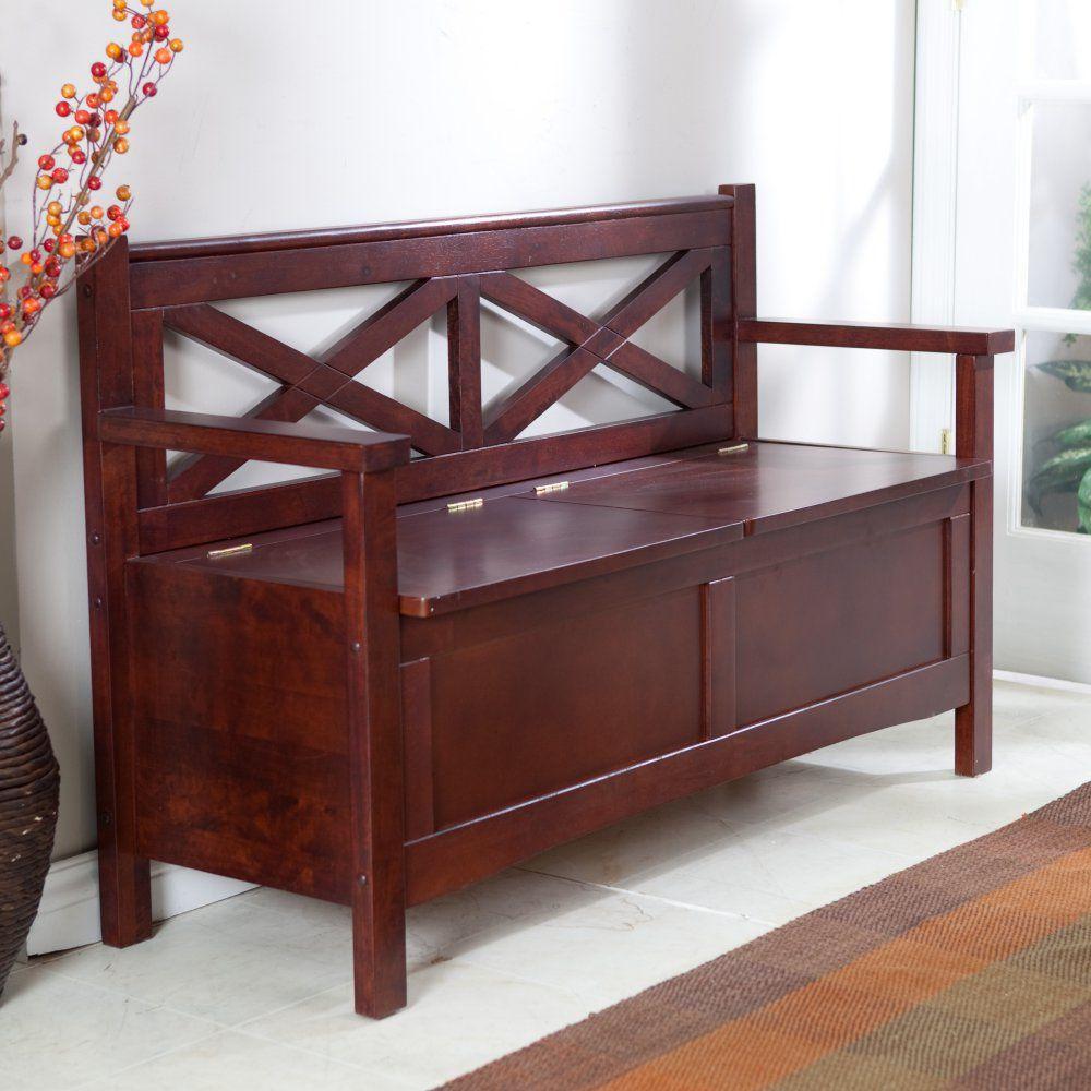 Harper X-Back Storage Bench - Wenge Dark Wood - Indoor Benches at ...
