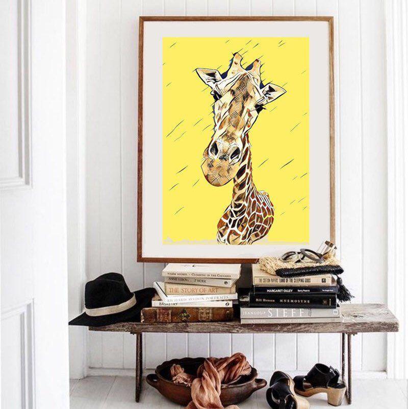 Giraffe wall art safari nursery art giraffe art for kids