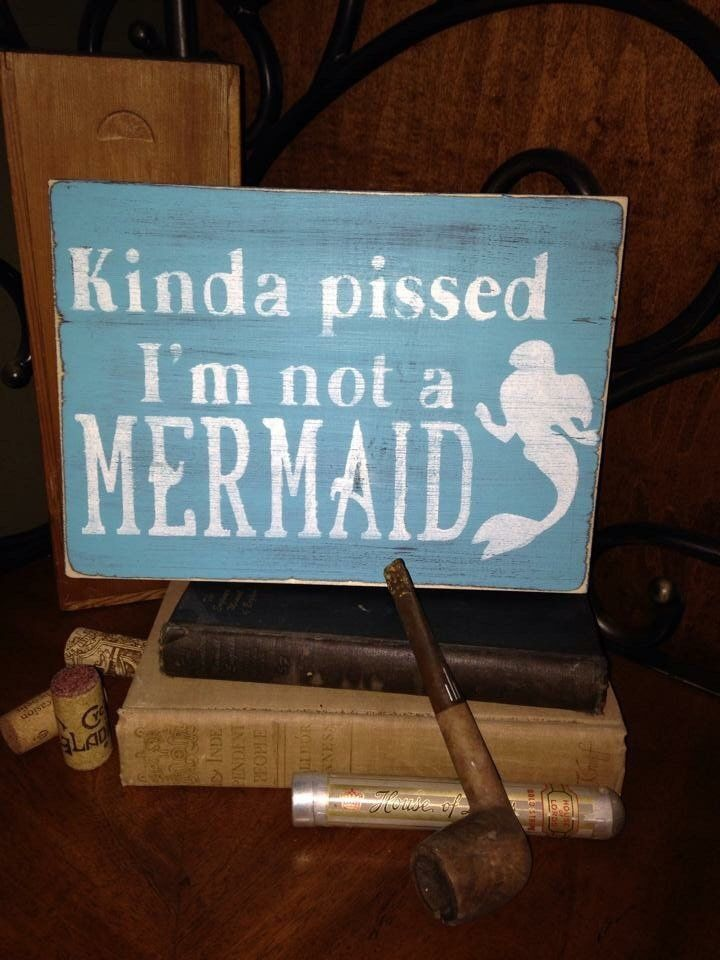 Mermaid sign wood sign, little mermaid sign, distressed teal blue sign, funny sign #mermaidsign