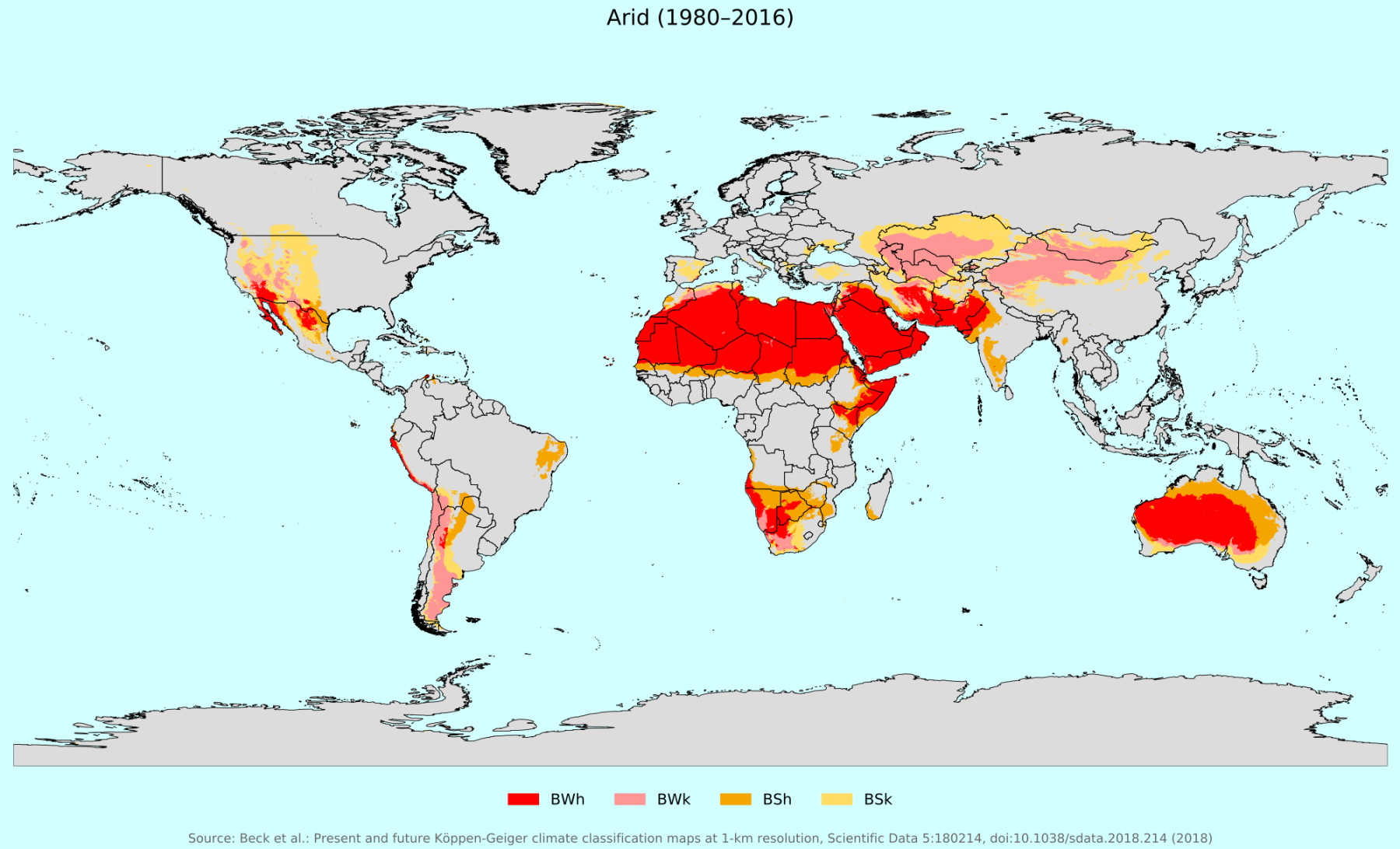 Koppen Geiger Climate Classification Map For Arid Regions
