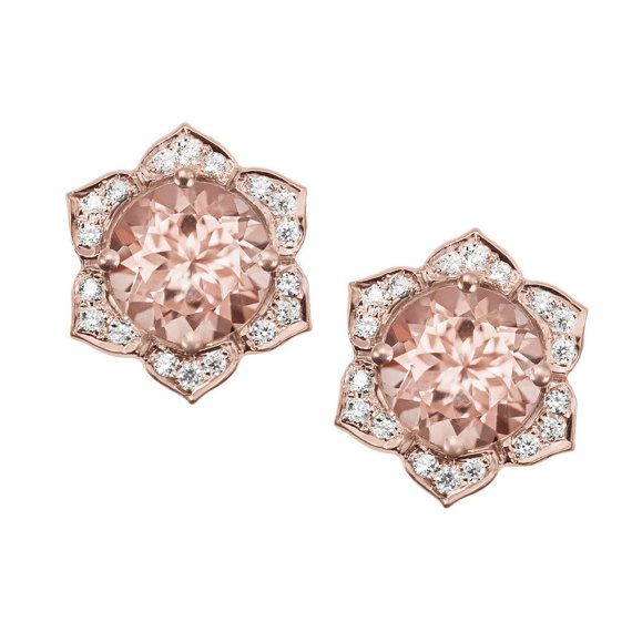 Morganite Diamonds Flower Gold Studs Earrings Lily Flower Studs Aretes Joyas Joyeria