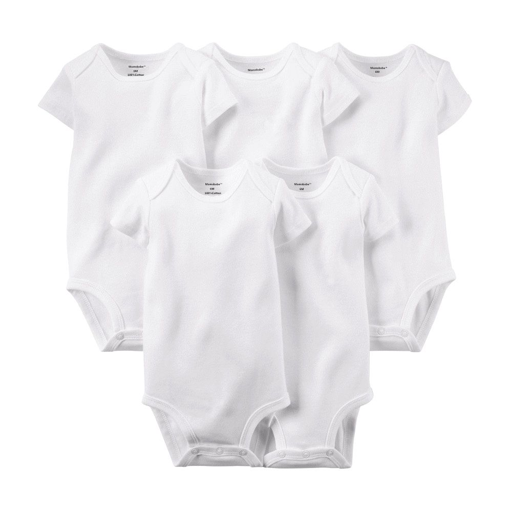 4165aa852 Baby Rompers Clothes 5 pcs lot Pure White Summer Short Sleeve Baby ...