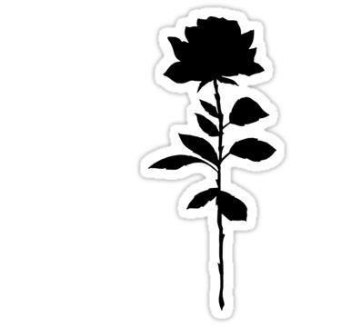 'Simple Rose Silhouette ' Sticker by accrescent | Black ...