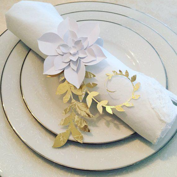 Paper Flower Napkin Rings Flower Napkin Rings Succulent Napkin