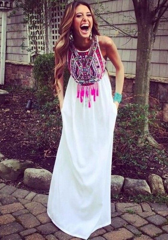 White Floral Print Tassel Floor Length Bohemian Chiffon Maxi Dress ...