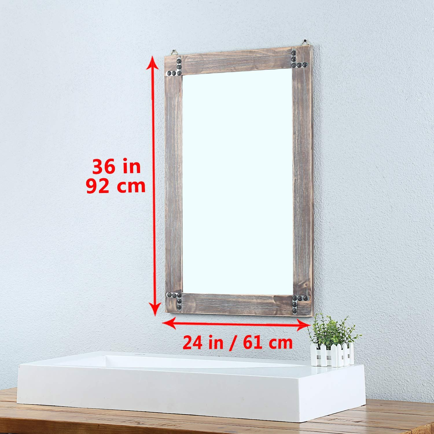 Weven 24in X 36in Rustic Wood Frame Hanging Wall Mirror Decorative Bathroom Mirrors For Wall Va Mirror Wall Decor Decorative Bathroom Mirrors Rustic Wood Frame [ 1500 x 1500 Pixel ]