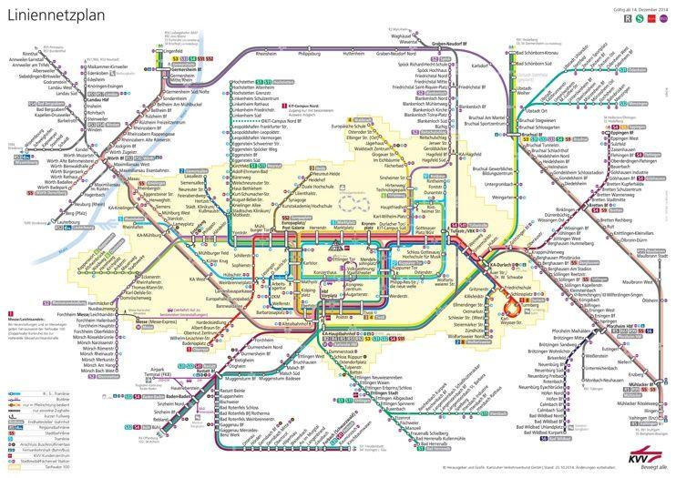 Karlsruhe Tram, Bus And Rail Map