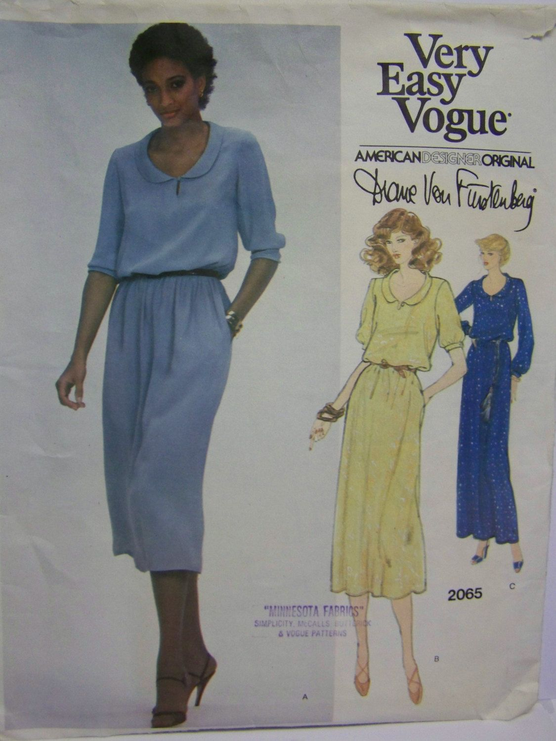 Vintage 1979 Very Easy Vogue 2065 Designer Diane VON FURSTENBERG Dress Pattern Miss sz 8 Complete by RaggsPatternStash on Etsy