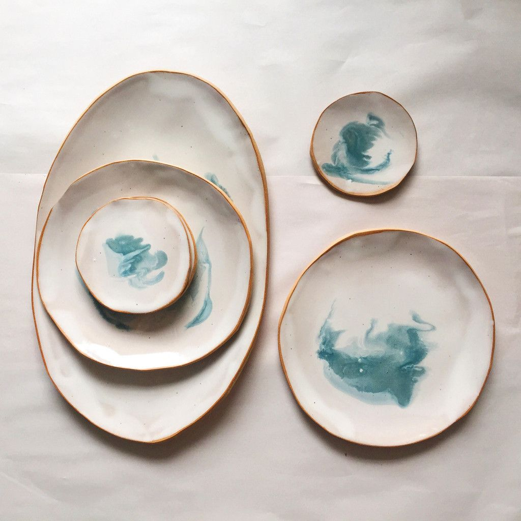 Ocean plates serving platter helen levi at home for Cute pottery designs