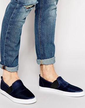 ASOS Slip On Sneakers in Satin Feel