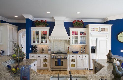 Peninsula traditional kitchen   White kitchen design, Blue ... on Traditional Kitchen Wall Decor  id=44686