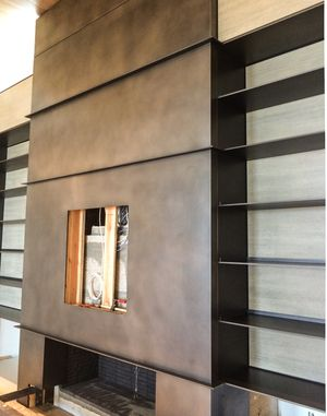 Best Blackened Steel Fireplace With Bookshelves Fireplace 400 x 300