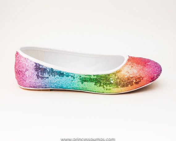 972686136037 Sequin Rainbow Ballet Flats Slippers Shoes by by princesspumps