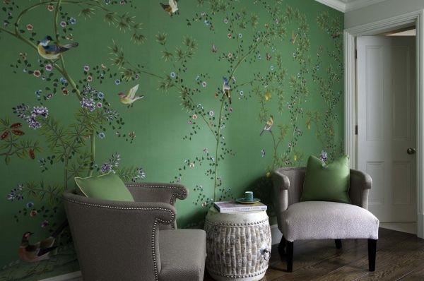 chinoiserie tapeten aus seide gr n bl ten muster sessel. Black Bedroom Furniture Sets. Home Design Ideas