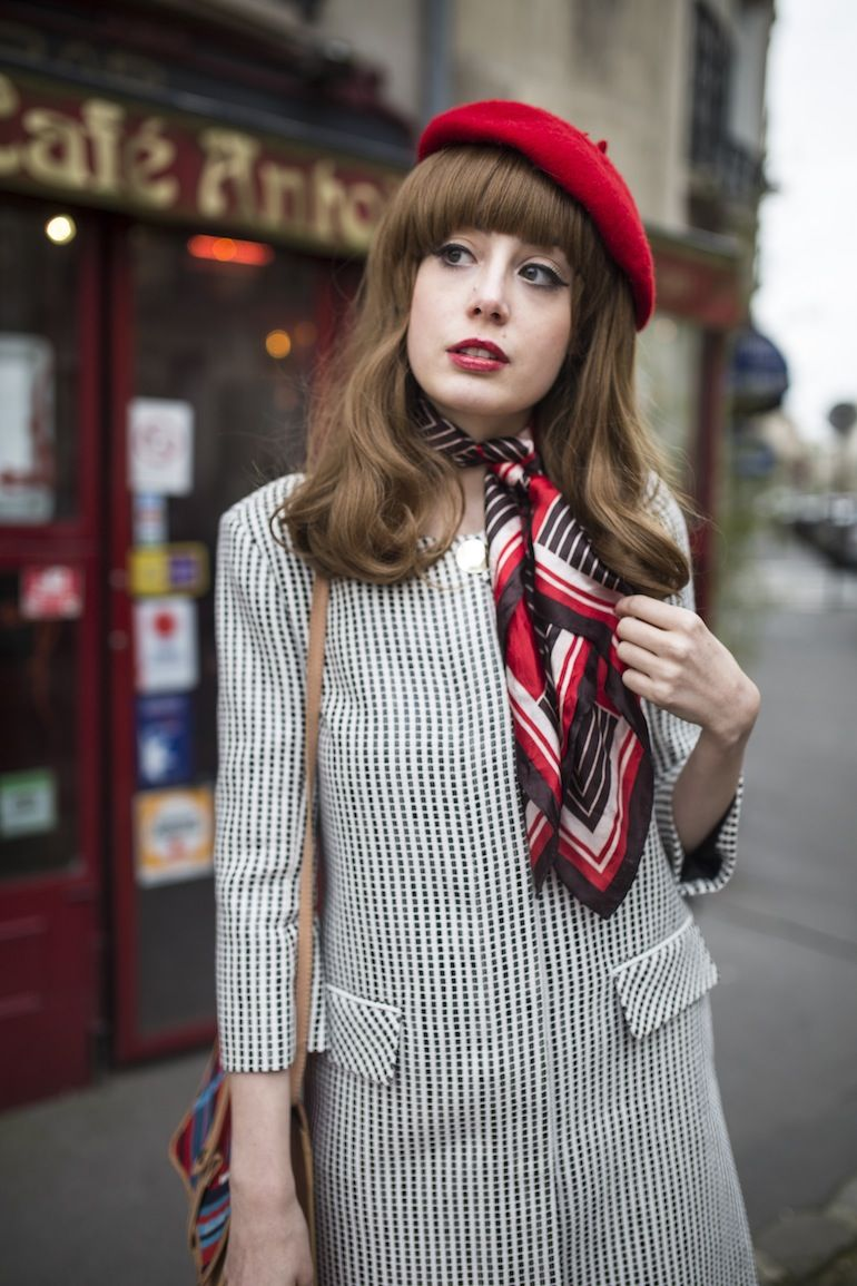 60s style inspiration with a beret and neck scarf -- A Day in the Life 6be3c6f9589