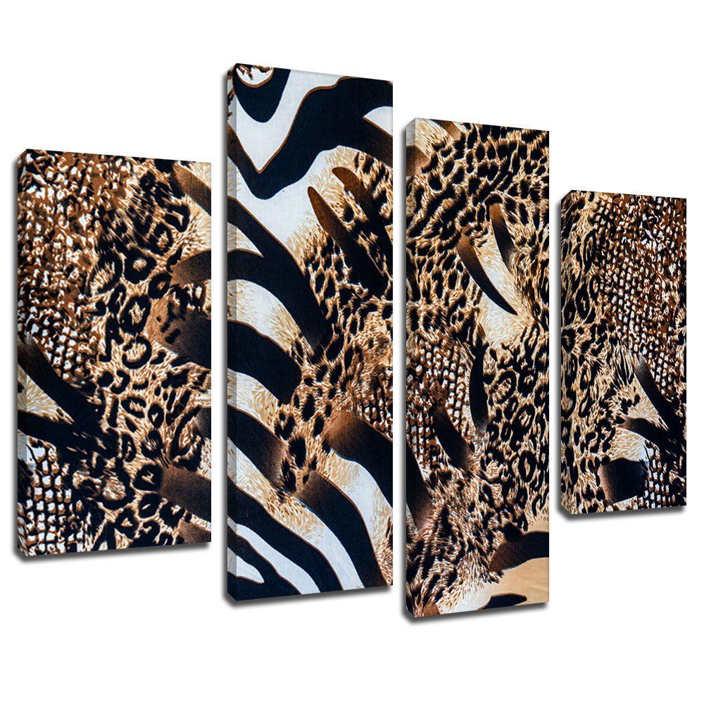 Details about MA417 Brown Zebra Leopard Coat Fur Canvas ...