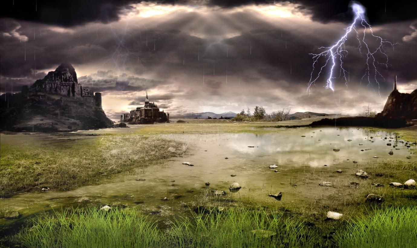 Thunderstorm Rain Field Animated Wallpaper Moving