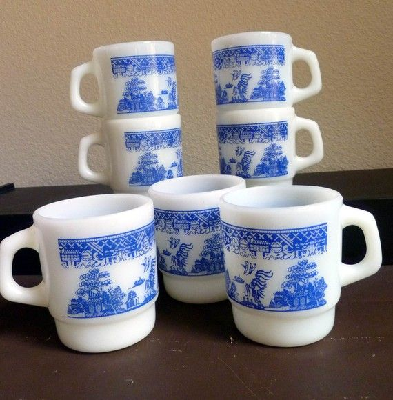 Collector's Fire King Stackable Mug, Blue Willow, set of 3 on Etsy, $17.95