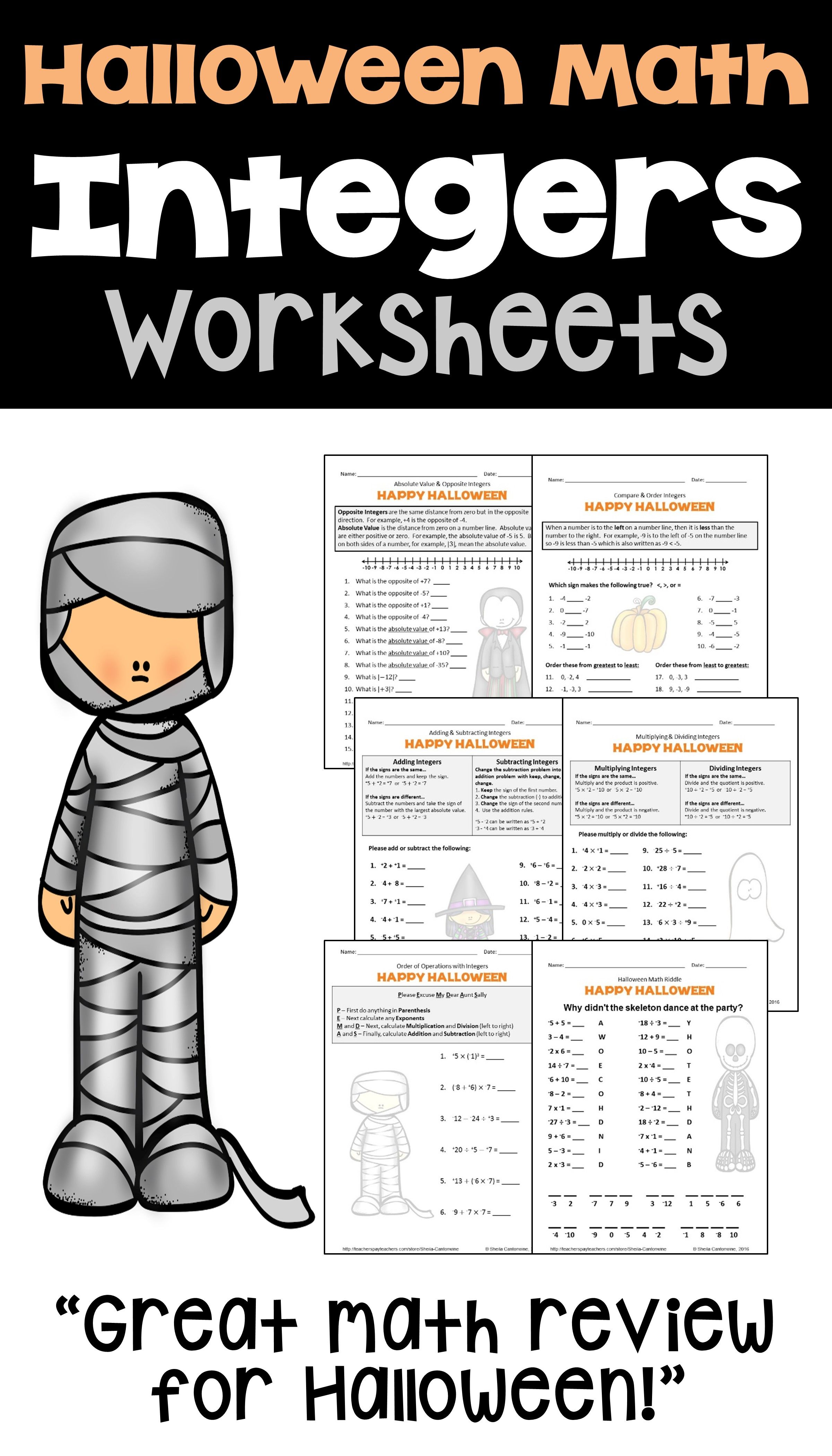 Halloween Math Is Fun For Kids With These Printable Integer Worksheets For 6th 7th And 7th Halloween Math Worksheets Halloween Math Halloween Math Activities