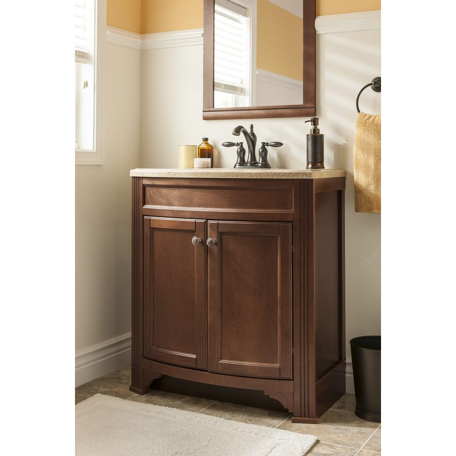 Shop style selections delyse java integral single sink - Lowes single sink bathroom vanity ...
