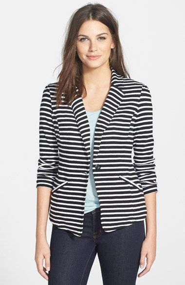 58f3d755812 Free shipping and returns on Caslon® Knit One-Button Blazer (Regular    Petite) at Nordstrom.com. Classic blazer styling hits a more casual note in  a soft ...