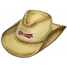 Here is a natural straw cowboy hat with the Budweiser logo on the front.  The inside of the hat has an elastic band to conform to most sized heads. c5fbf07edb8