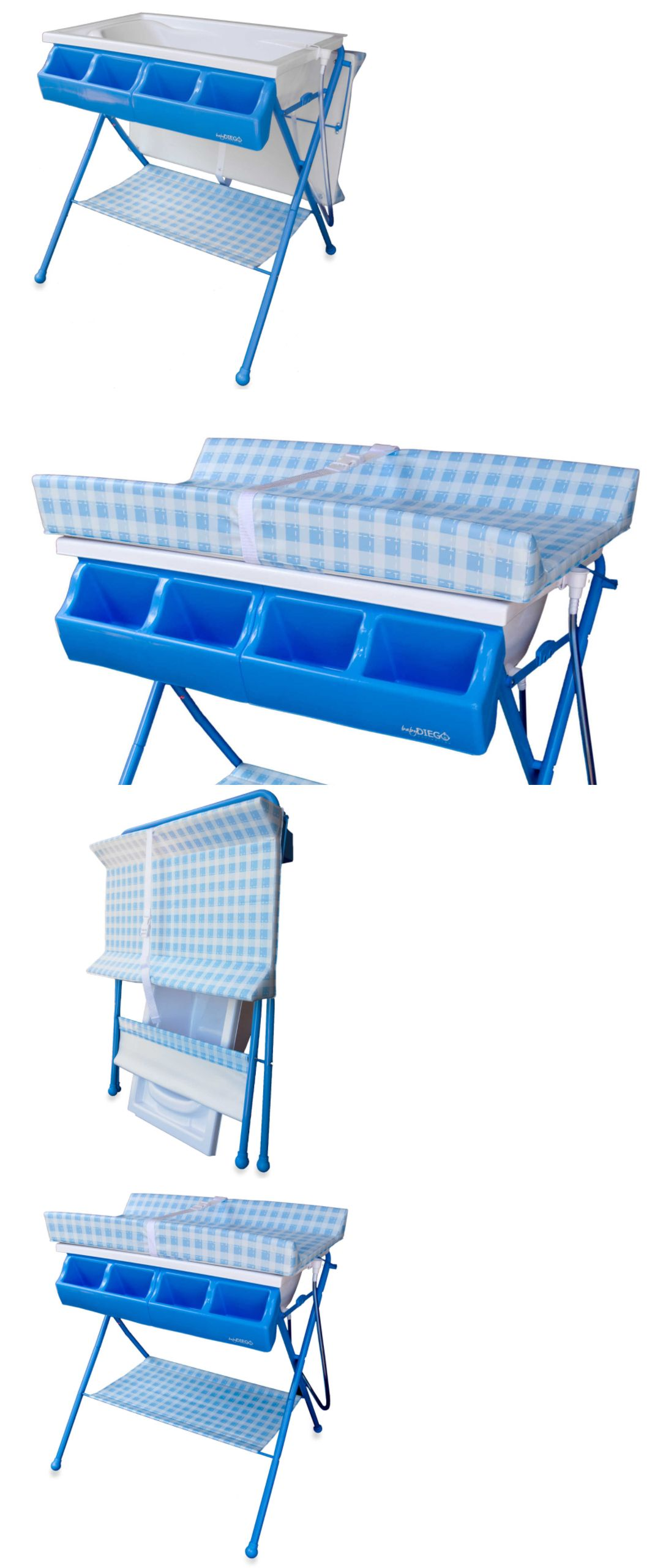 Baby Diego Standard Bath Tub & Changer Combo Blue Elevated Station ...