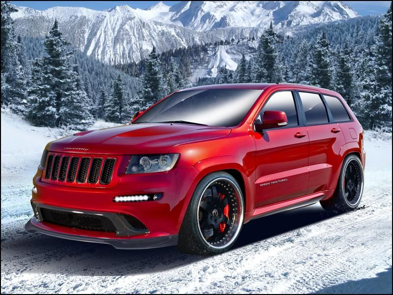 2013 Jeep GRAND CHEROKEE Hennessey HPE800 Twin Turbo SRT8 Taking what it has learned tuning the 6.4-liter Hemi motor in the Challenger and Charger, Hennessey has released a new high-performance package for the Jeep Grand Cherokee SRT8. The new 392s have laid down as much as 500 hp on the dynamometer through some minor tweaks; the Hennessey HPE800 Twin-Turbo Jeep SRT8, on the other hand, is capable of 805 hp and 823 lb-ft of torque through some more serious modifications.