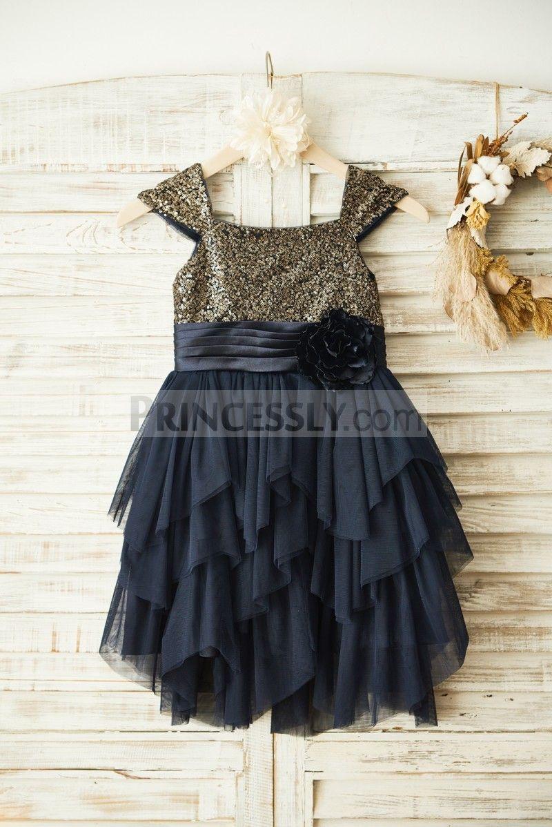 Gold Sequin Navy Blue Ruffle Tulle Wedding Flower Girl Dress