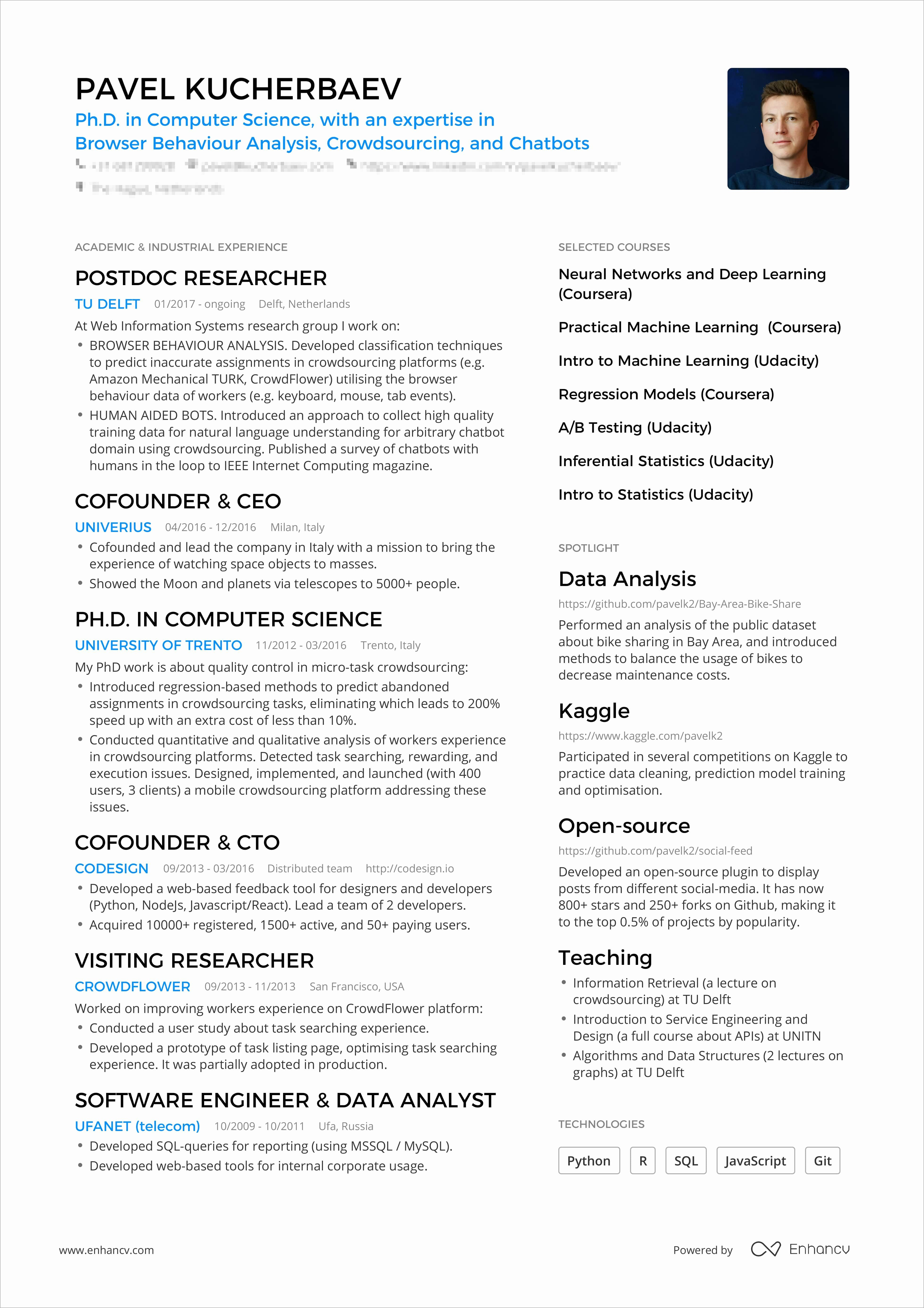 1 Page Resume Template Inspirational A Powerful One Page Resume Example You Can Use One Page Resume Professional Resume Examples Resume Examples