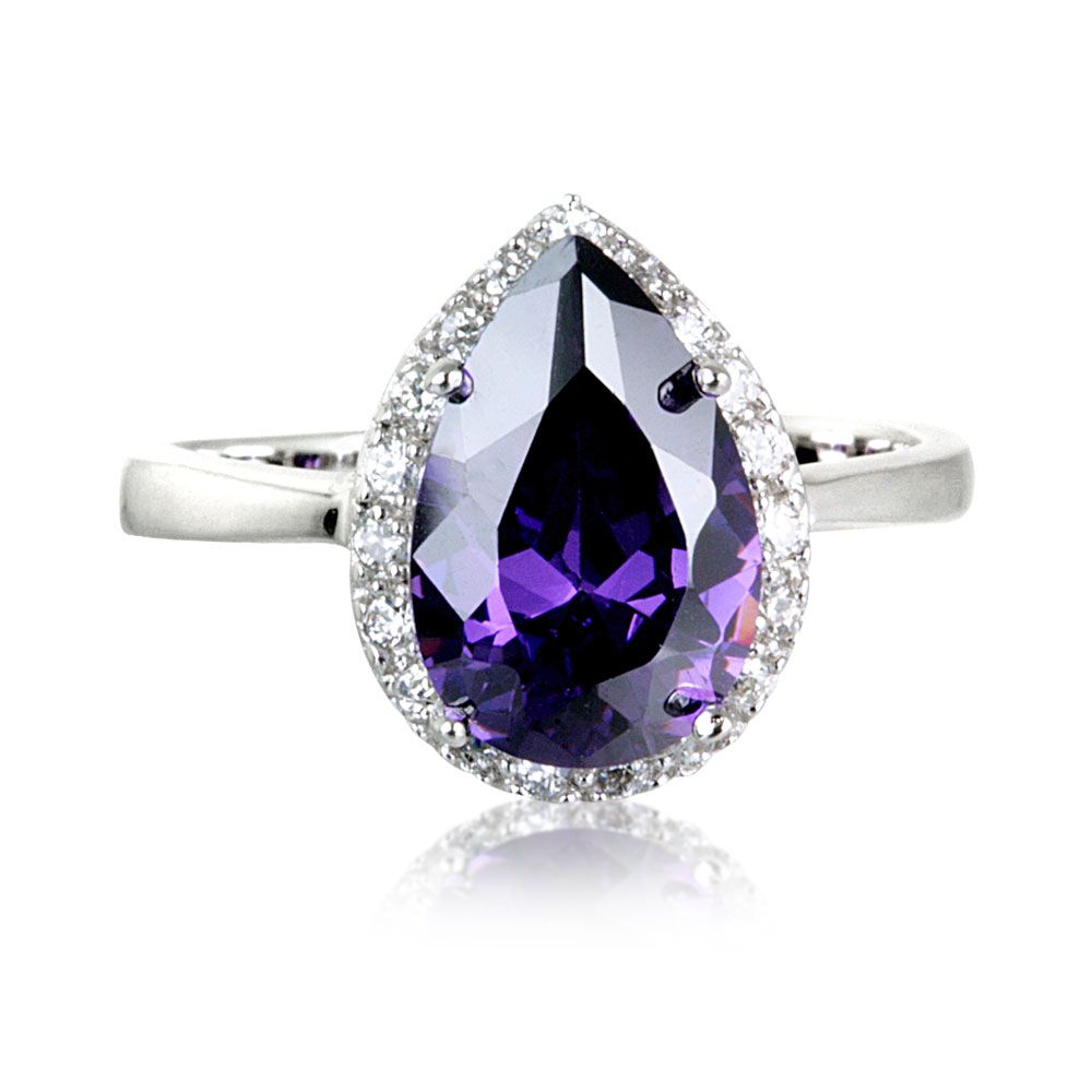d492f0e2ab3 Tara Real Sterling Silver Amethyst Coloured Zirconia Pear Cluster Ring Get  up to 70% Off on finest jewelry at Warren James Discount and Voucher Codes.
