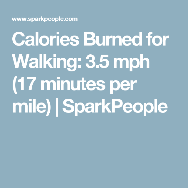 Calories Burned For Walking: 3.5 Mph (17 Minutes Per Mile