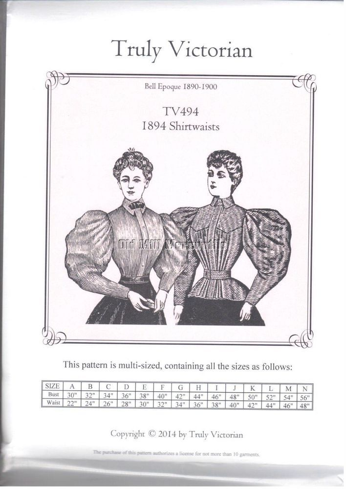 Ladies Truly Victorian Sewing Pattern for 1890\'s style blouse ...
