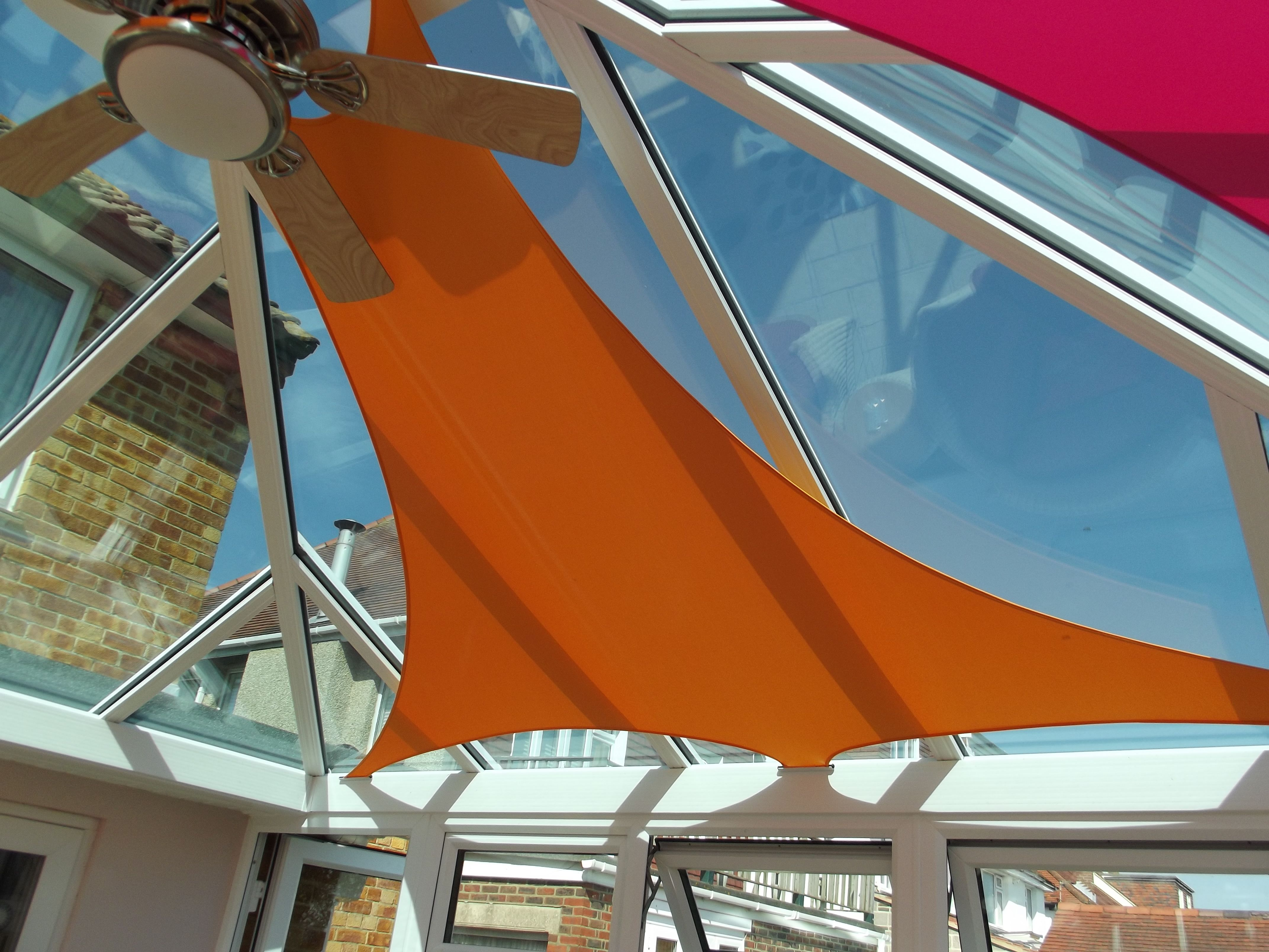 Orange And Pink Shade Sail Blinds Conservatory Shade Sail Outdoor Shade Conservatory Roof