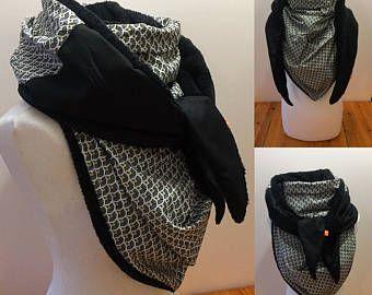7a460cdae95 Maxi Cheche femme noir et blanc foulard polaire châle