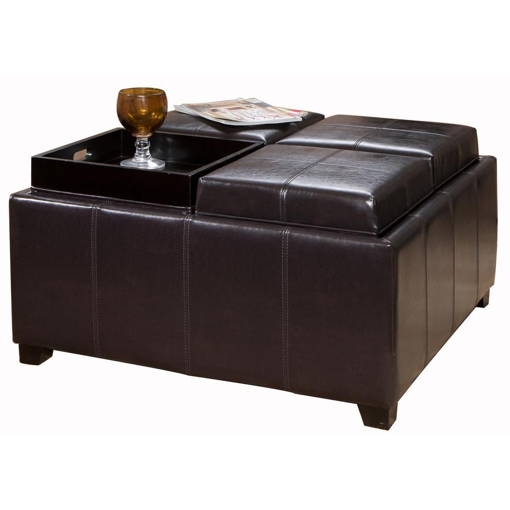 Cool Dartmouth Espresso Brown Bonded Leather Tray Top Storage Pabps2019 Chair Design Images Pabps2019Com