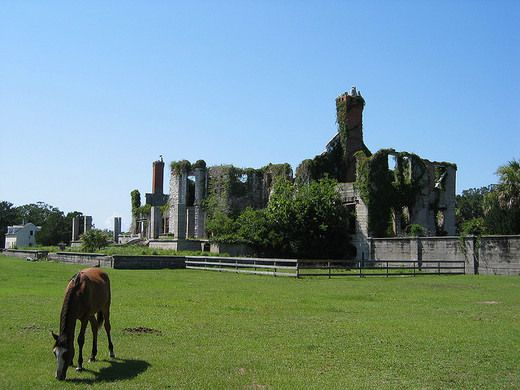 Ruins of the Carnegie family mansion on Cumberland Island