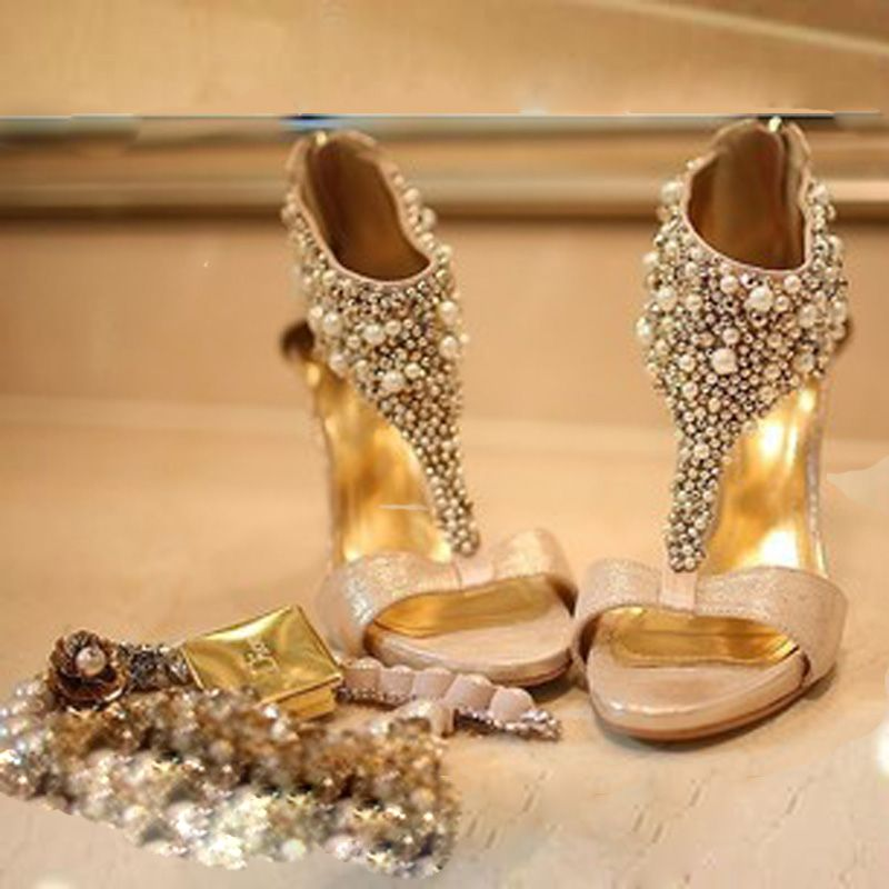 Gold High Heel Bridesmaid Name Champagne Party Wedding: Rhinestone Pearl Perspectivity Beaded High-heeled Sandals